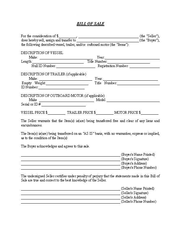 Boat and Trailer Bill of Sale Forms By State