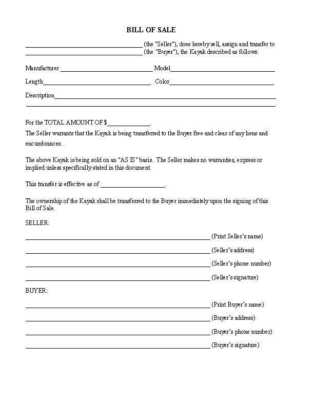 Kayak Bill of Sale Form