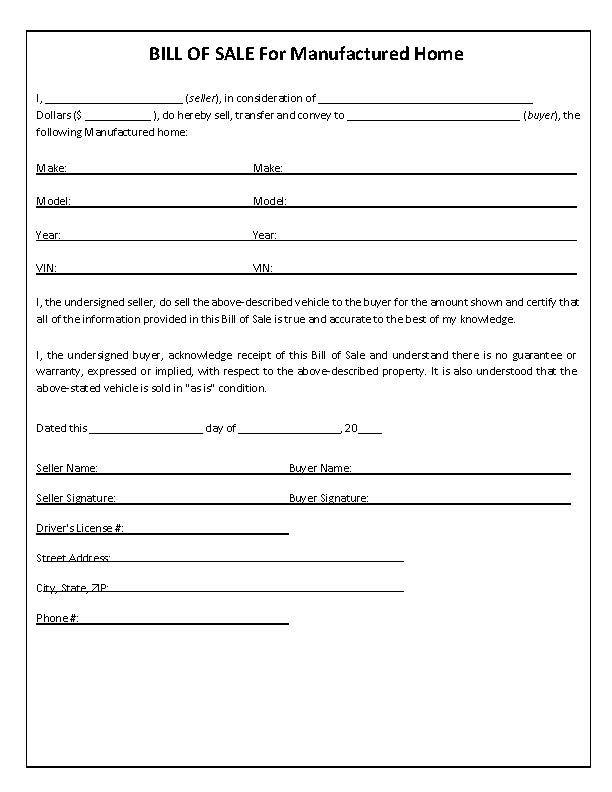 New Mexico Manufactured Home Bill of Sale Form